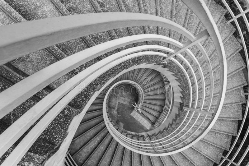 Modern spiral stairway. Empty modern spiral stairway, viewed from top royalty free stock photos