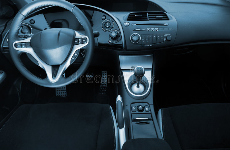 Modern sport car interior stock photos