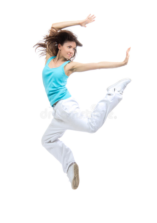Modern sport girl woman dancer jumping pose dancing. Active isolated on a white background stock images