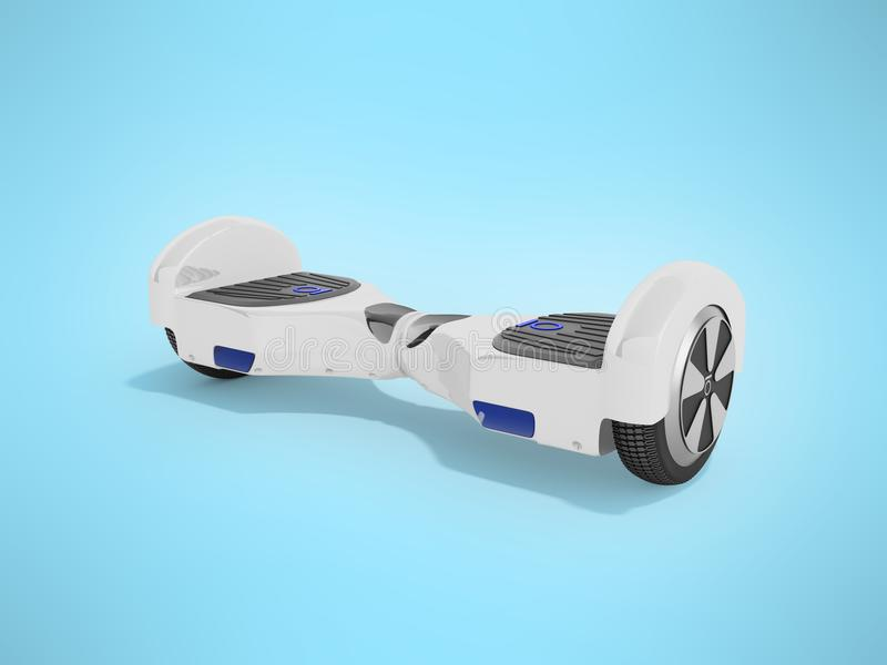 Modern sport gyroboard white front 3d render on blue background. Modern sport gyroboard white front 3d render on blue vector illustration