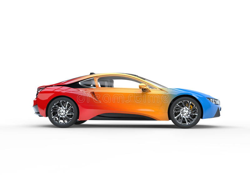 Modern sportbil - tricolor variationsmålarfärg royaltyfria foton