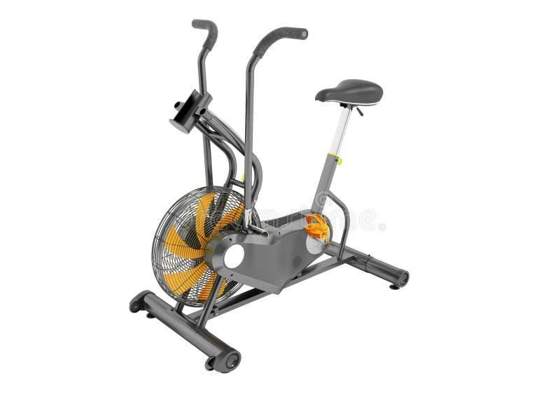 Modern sportmotionscykelgrå färg med apelsinen betonar med ställningen stock illustrationer