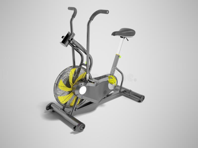 Modern sportmotionscykelgrå färg med guling betonar med ställning f vektor illustrationer