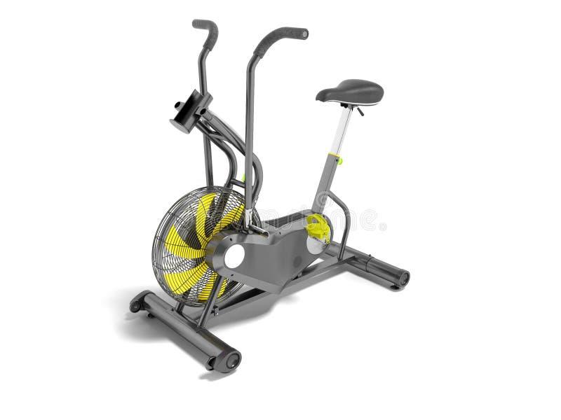 Modern sportmotionscykelgrå färg med guling betonar med ställning f royaltyfri illustrationer