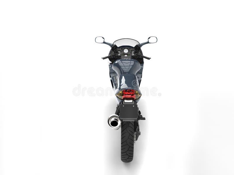 Modern sportmotorcykel - metallisk färg för stålblått vektor illustrationer
