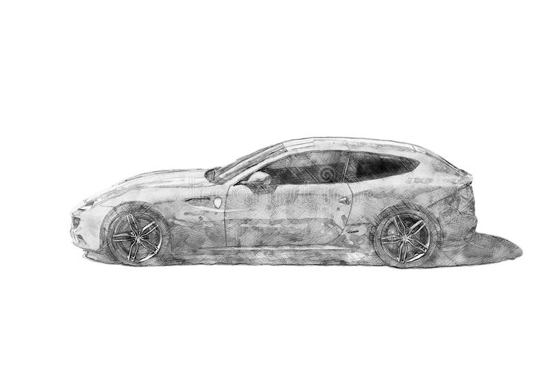 Modern sports car - Pencil sketch drawing - Isolated side view - Creative illustration stock illustration