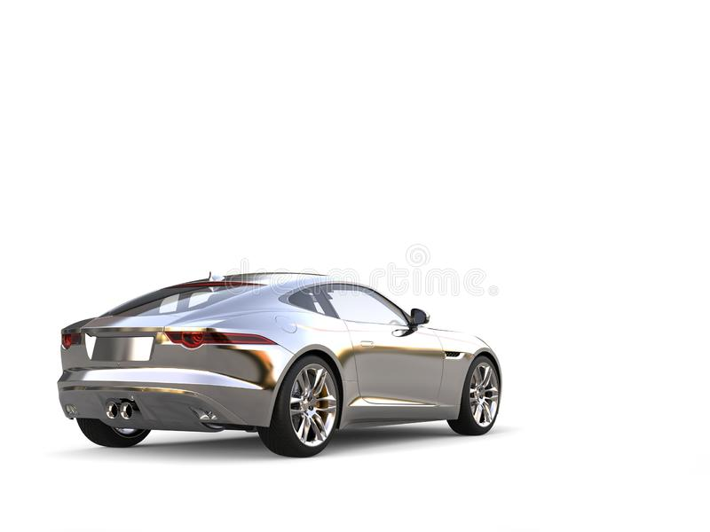Modern sports concept car - tail view - chrome. Isolated on white background royalty free illustration