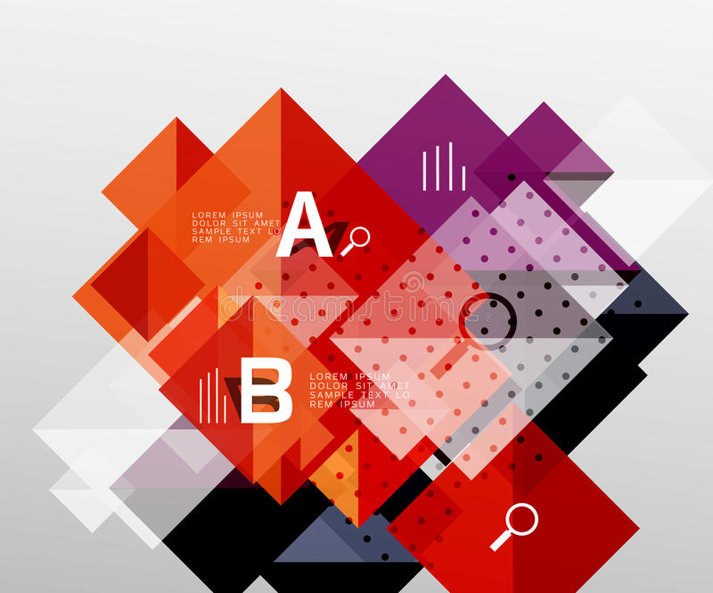 Modern square composition, abstract banner. Vector template background for workflow layout, diagram, number options or web design stock illustration