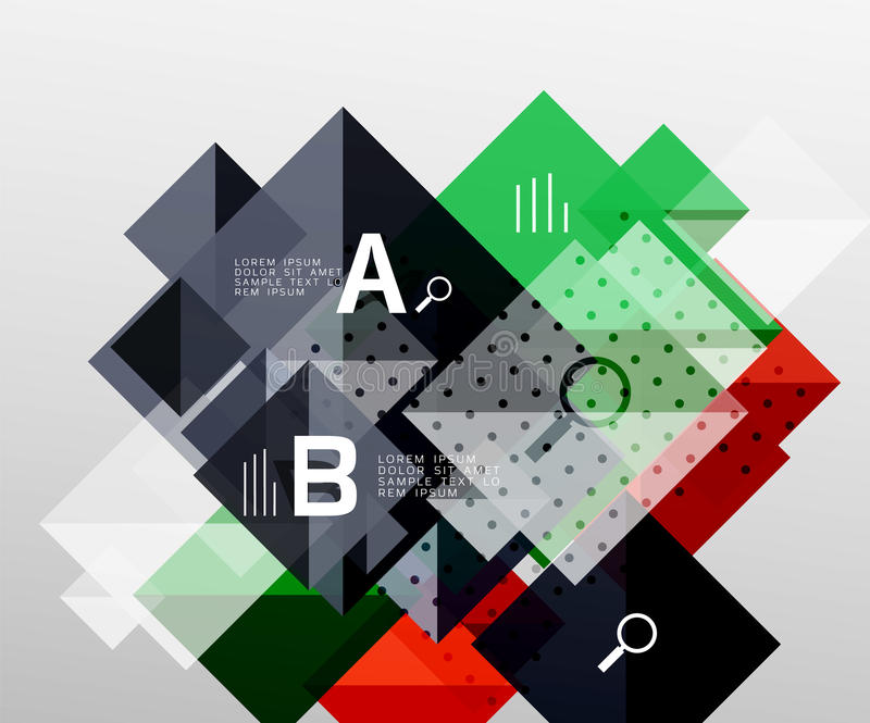 Modern square composition, abstract banner. Vector template background for workflow layout, diagram, number options or web design royalty free illustration