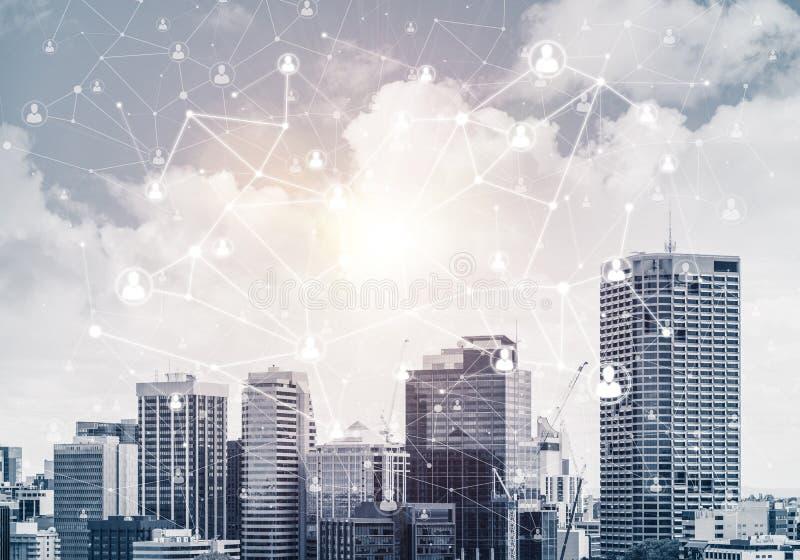Modern stad och samkväm som är netto som begreppet för global nätverkande stock illustrationer
