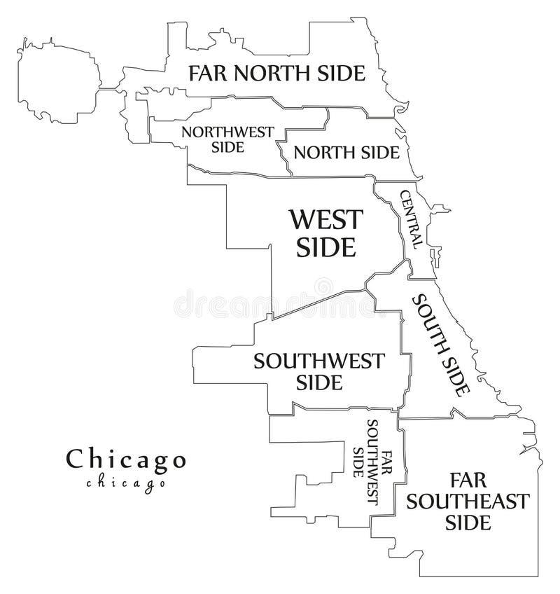 Modern stadsöversikt - Chicago stad av USA med städer och titl royaltyfri illustrationer