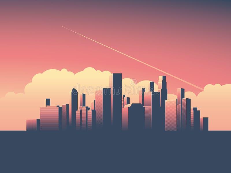 Modern stads- cityscapevektorillustration Symbol av makt, ekonomi, ekonomiska institutioner, pengar och banker royaltyfri illustrationer