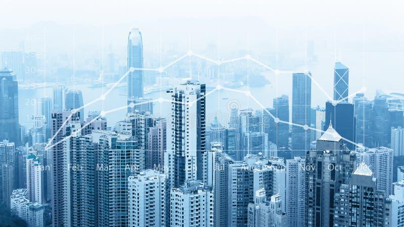 Modern stads- horisont Globala kommunikationer och nätverkande Cyberspace i storstaden mynt besegrar grafmarknadsblyertspennan so royaltyfri fotografi