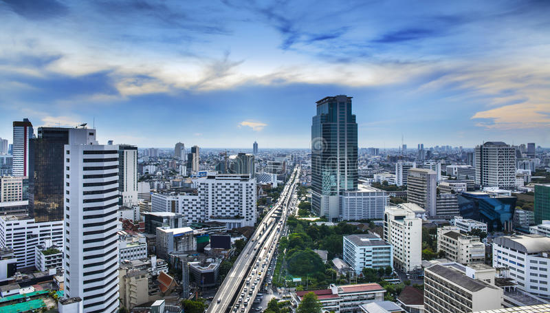 Modern stads- stad, Bangkok, Thailand. arkivfoto