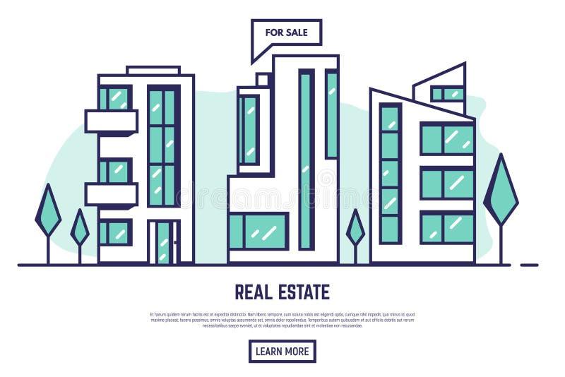 Modern stadsfastighet vektor illustrationer