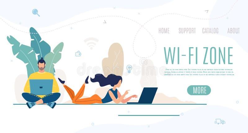 Modern Stadspark met WiFi-Banner van het Streek de Vectorweb royalty-vrije illustratie