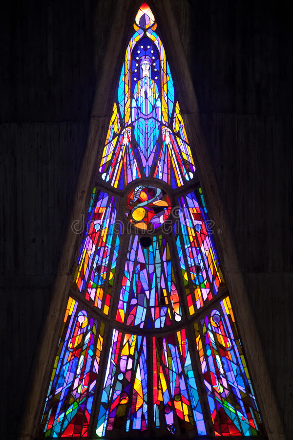 Modern stained glass. Window of notre dame church of Royan, france royalty free stock photography