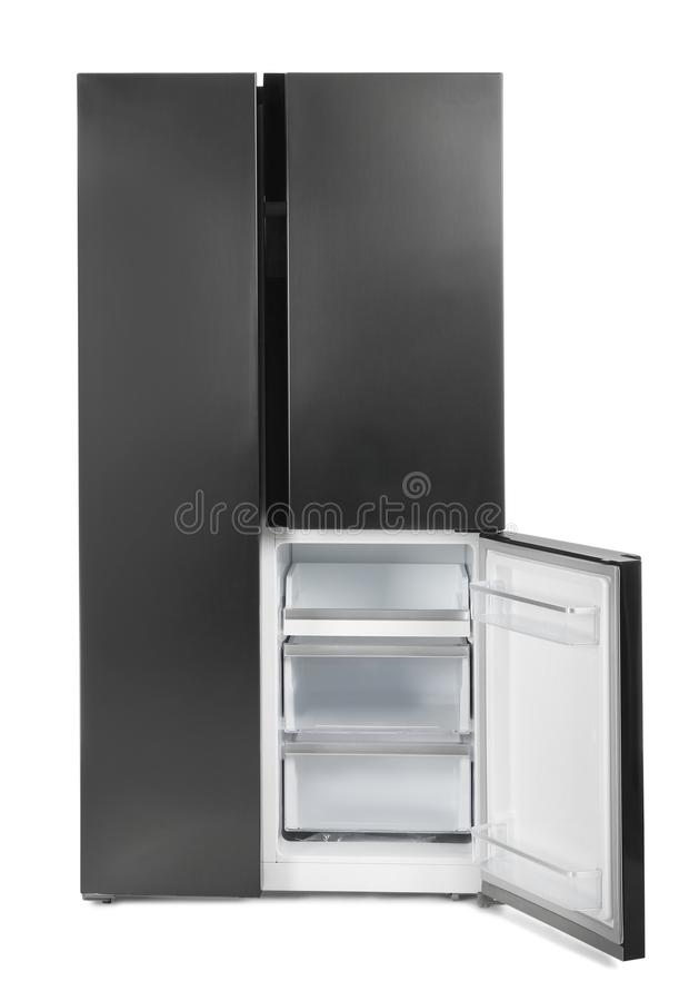 Modern stainless steel refrigerator isolated on white royalty free stock image