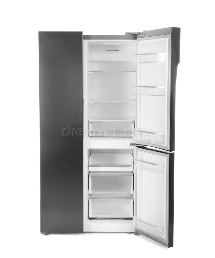 Modern stainless steel refrigerator isolated on white royalty free stock photography