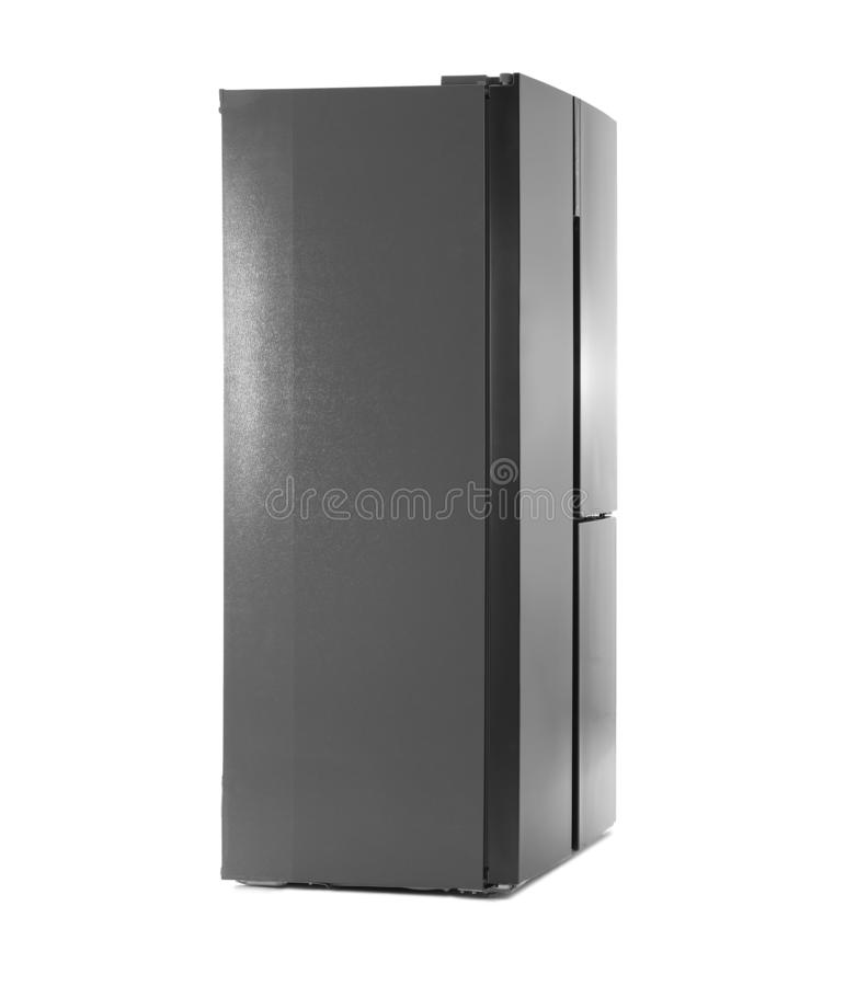 Modern stainless steel refrigerator isolated royalty free stock photography