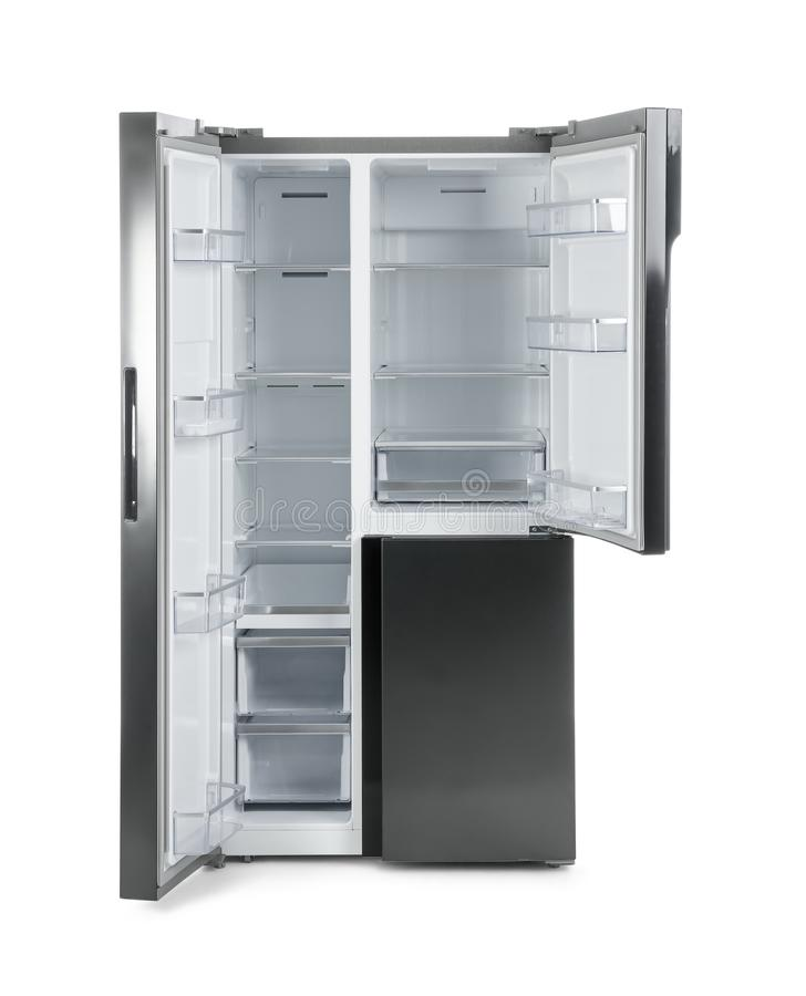 Modern stainless steel refrigerator isolated stock photos
