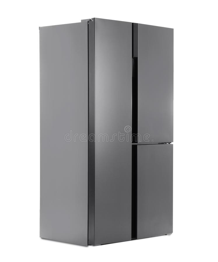Modern stainless steel refrigerator isolated stock photo