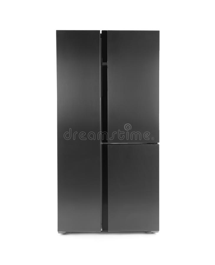 Modern stainless steel refrigerator isolated royalty free stock photos
