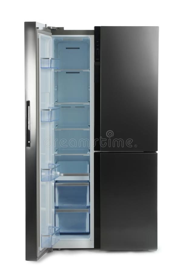 Modern stainless steel refrigerator isolated royalty free stock image