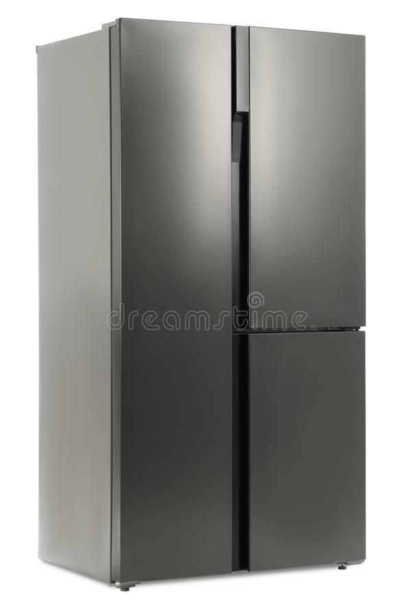 Modern stainless steel refrigerator on white royalty free stock photos