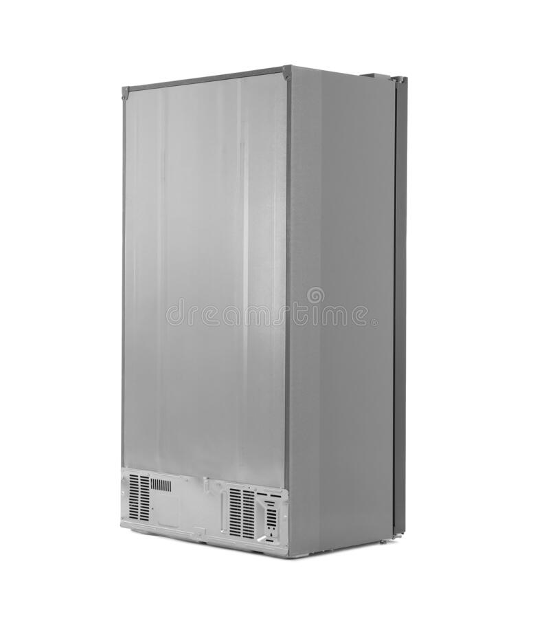Modern stainless steel refrigerator on white stock photos