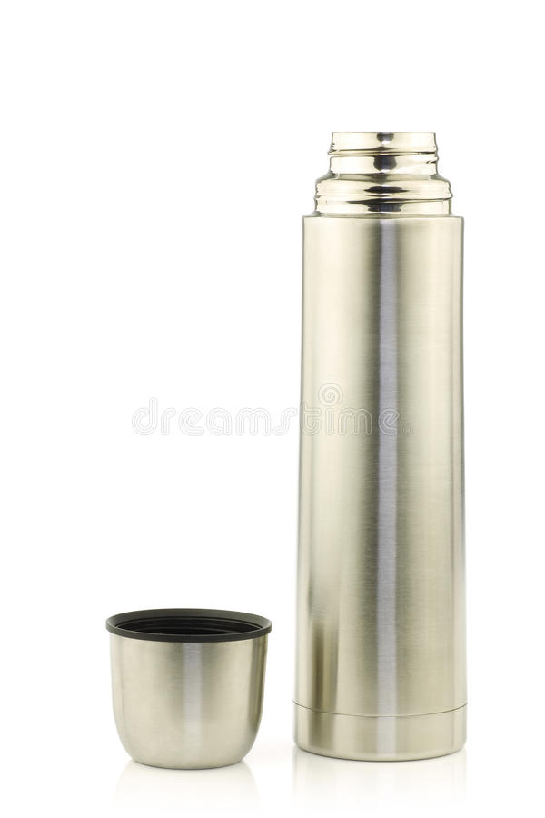 Modern stainless steel thermos flask stock image