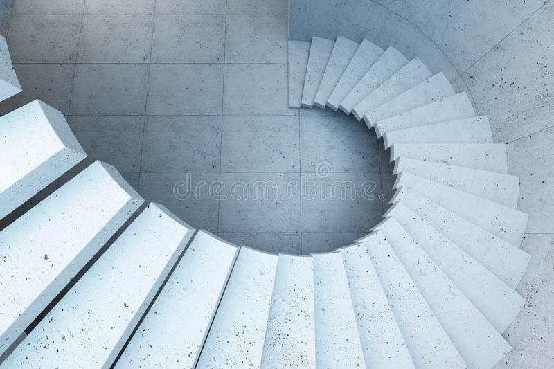 Modern staircase in concrete interior, 3d render royalty free stock image