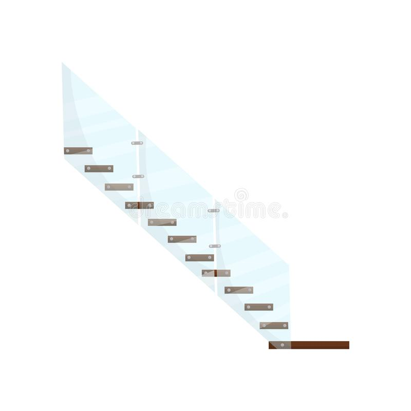 Modern staircase with wooden steps and glass handrails. Element for interior of business office building. Side view royalty free illustration