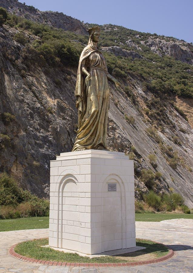 Modern Standbeeld Maagdelijke Mary dichtbij Huis van Virgin stock afbeelding