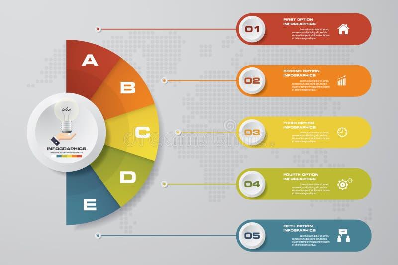 Modern 5 stappenproces Element van het Simple&Editable het abstracte ontwerp vector illustratie