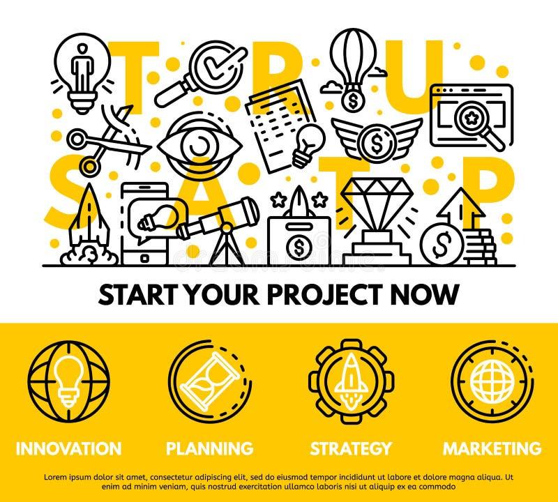 Modern startup concept background, outline style vector illustration