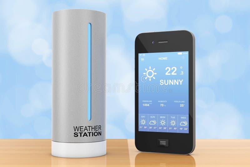 Modern station för väder för Digital radiohem med mobiltelefon w vektor illustrationer