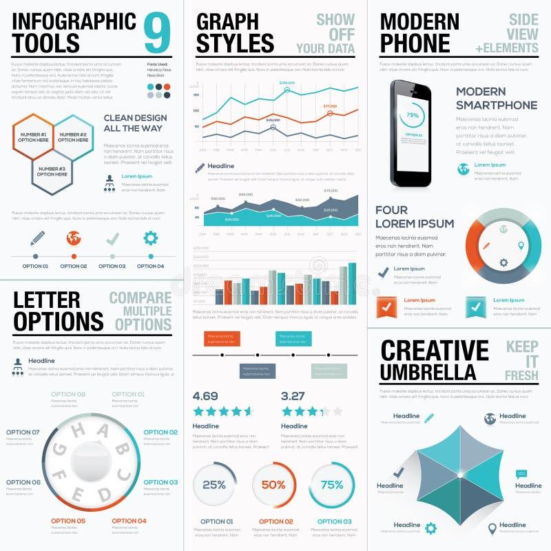 Modern statistik och grafiska vektorbeståndsdelar för information för affär stock illustrationer