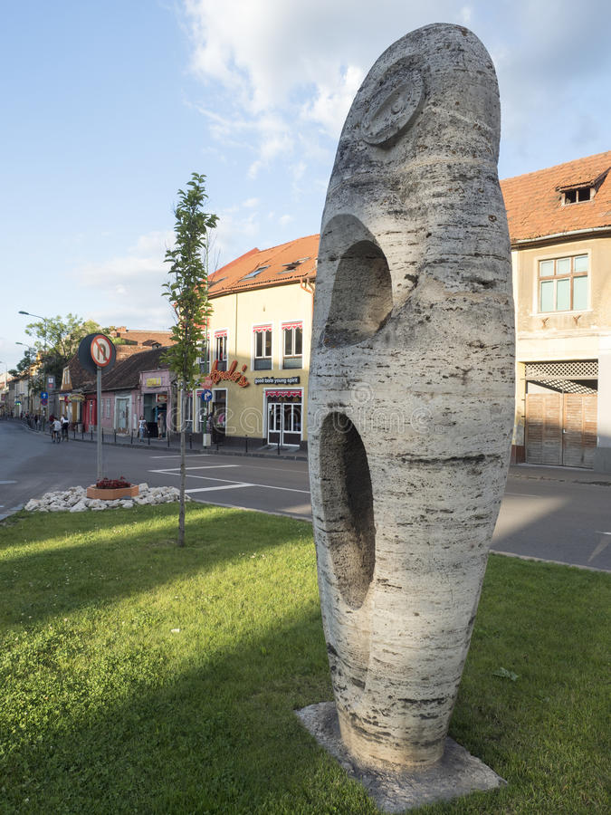Modern statue on Nicolae Balcescu street in Brasov, Romania royalty free stock images