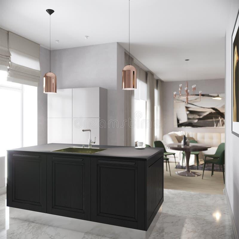Modern Stedelijk Eigentijds Gray Kitchen Interior stock foto's
