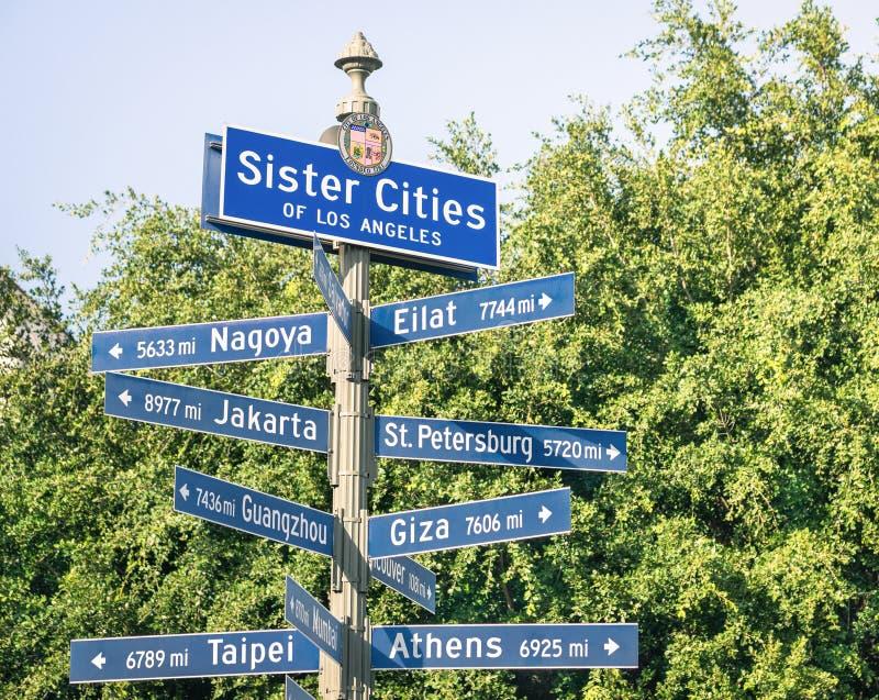 Modern stedelijk straatteken van Zuster Cities van Los Angeles stock afbeeldingen