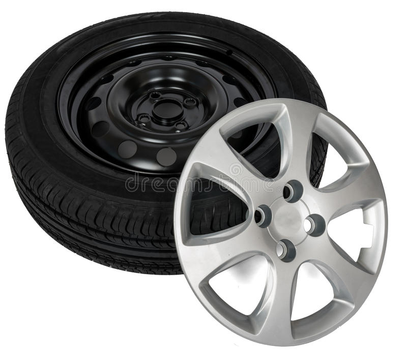 Modern steel car wheel with plastic cover stock photos