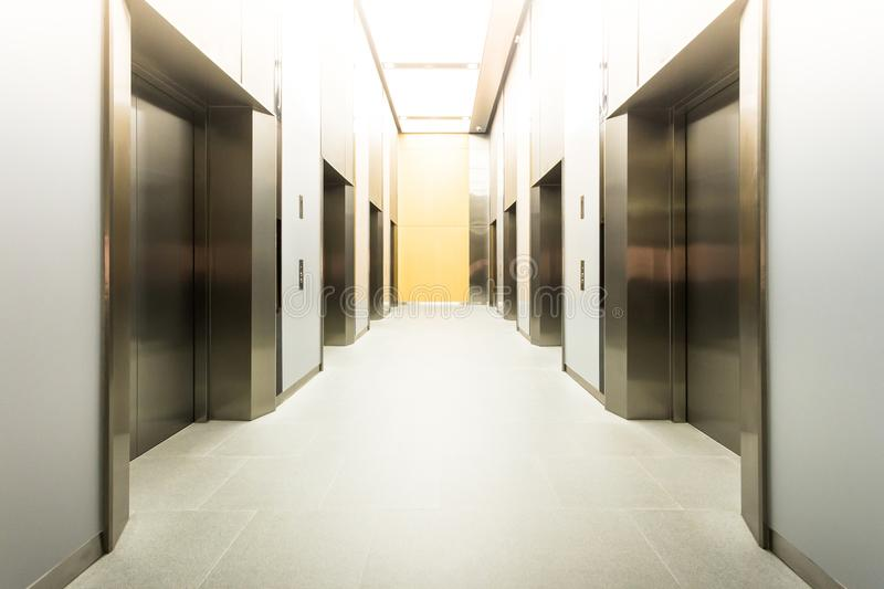 modern steel elevator cabins in a business lobby or Hotel, Store stock image