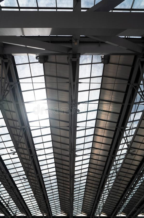 Modern Steel Roof Interior Architecture Of Metala A Of Airport Or Industrial Factory Stock Illustration Illustration Of Industrial Office 156374349