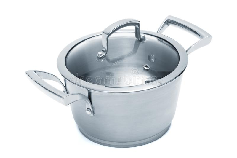 Modern steel saucepan royalty free stock photography