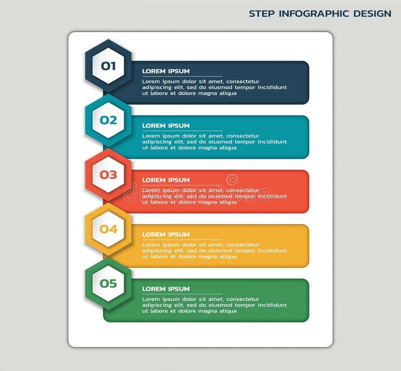 Modern step infographic. business flowchart with hexagons, number and text boxes. Modern step infographic design. business workflow flowchart with hexagons vector illustration