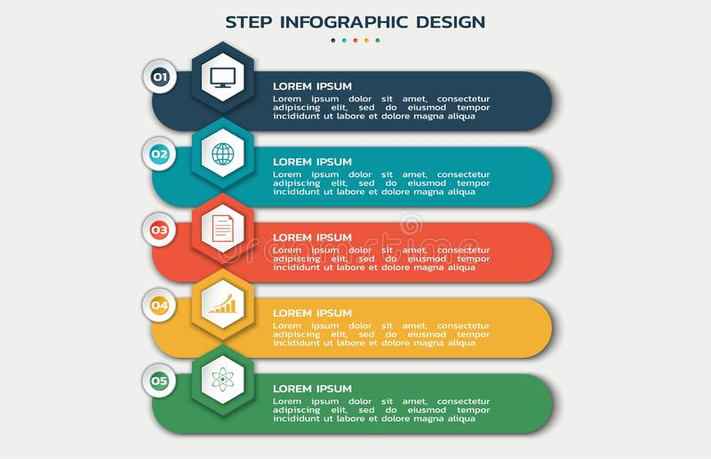 Modern step infographic design. business workflow flowchart with hexagons with icons and text. Boxes vector illustration