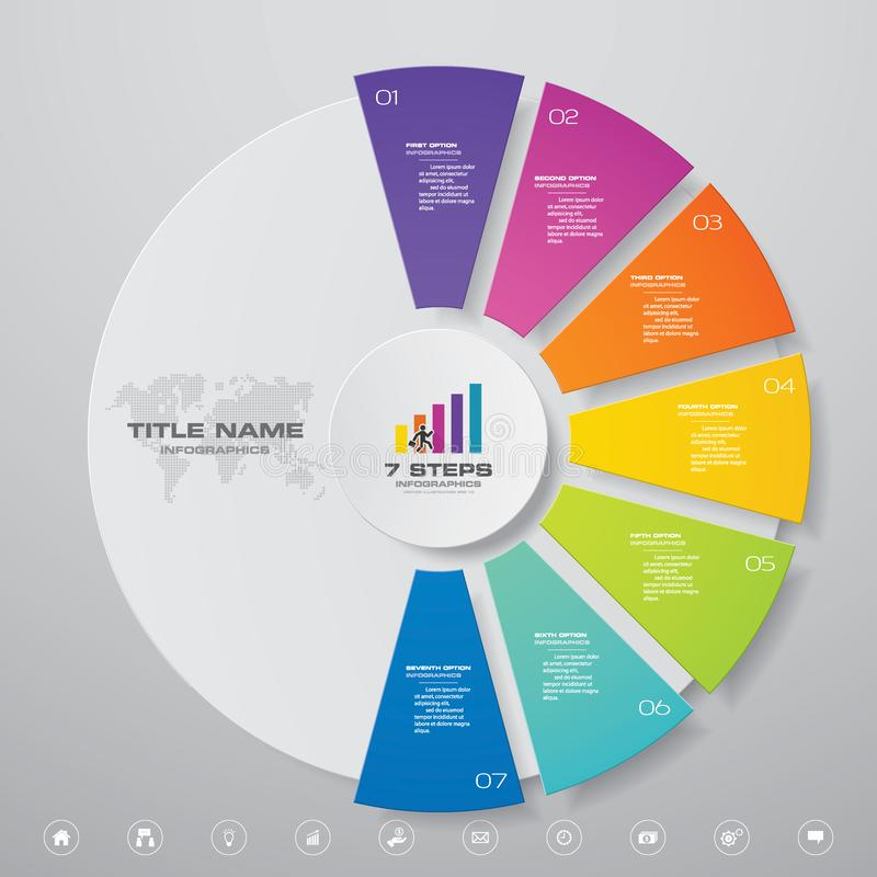 Modern 7 steps cycle chart infographics elements. EPS 10 royalty free illustration