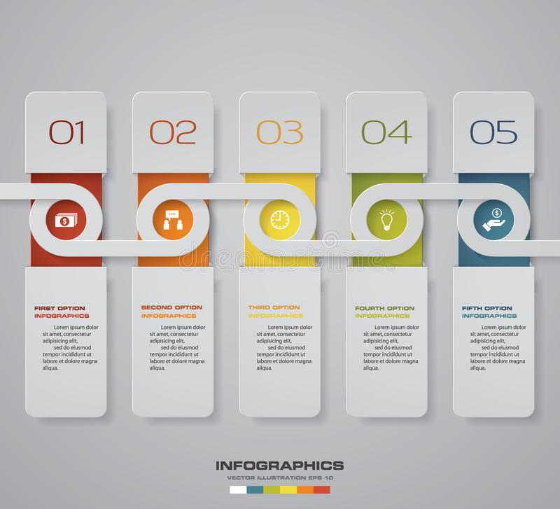 Modern 5 steps process. Simple&Editable abstract design element. EPS10. royalty free illustration