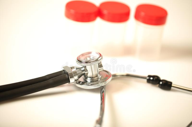 Stethoscope medical equipment in doctor hand close up. Modern stethoscope medical equipment in doctor hand close up stock photos